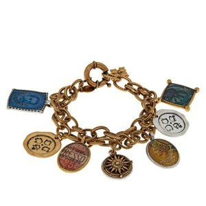 Patricia Nash World stamp double charm bracelet